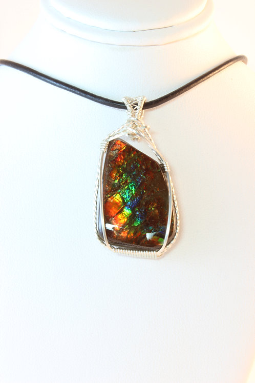 Rare Ammolite Gem Fossil Wire Wrapping
