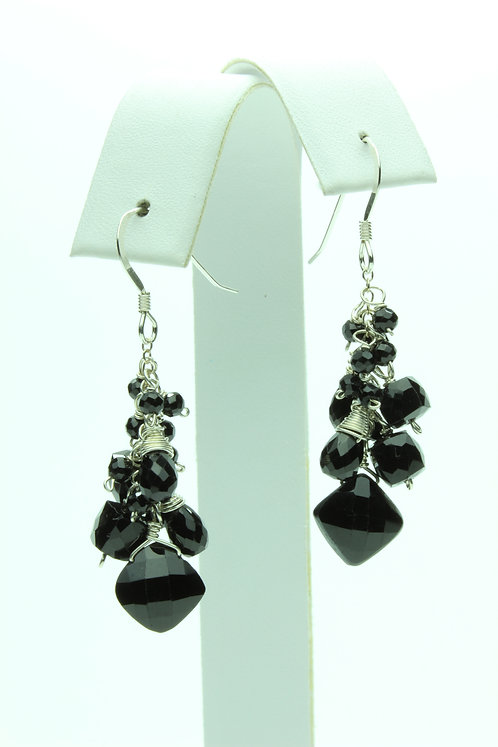 Black Spinel, Onyx and Sterling Silver Earrings