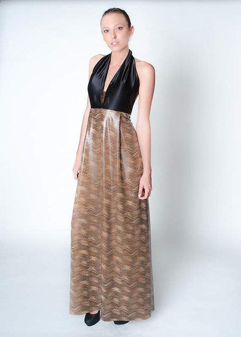 Black Silk Halter Evening Dress with Beaded Detail