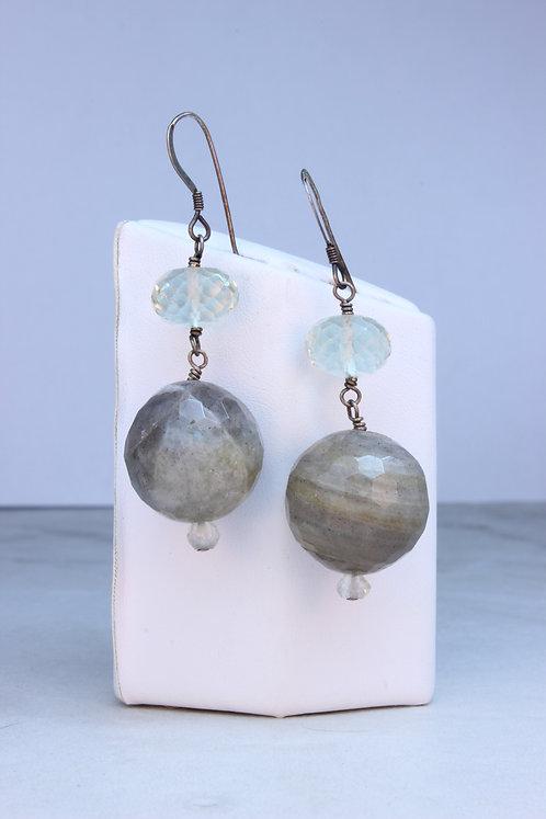 Labradorite, Prasiolite & Silver Earrings