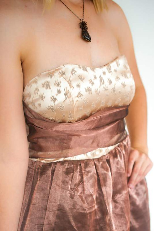 Laser Cut lt. Peach Silk Strapless Dress Size 4