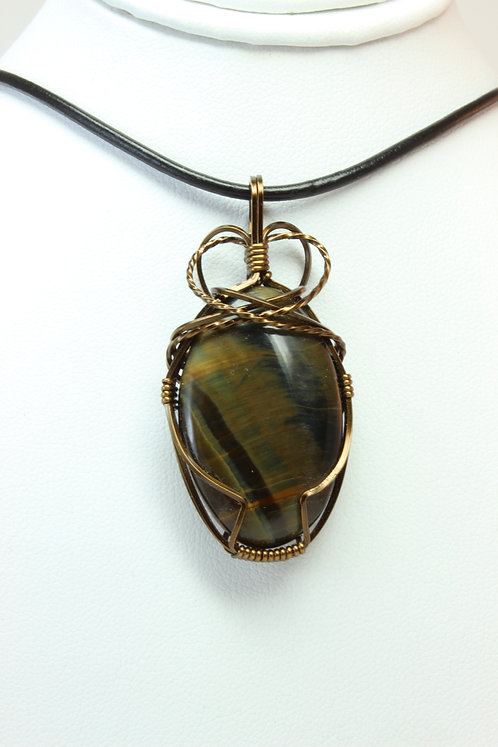 Tiger Eye Brass Wire Wrapped Pendant