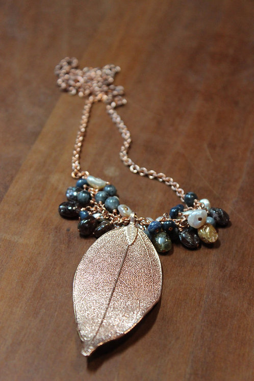 Long Chain Electroplated Copper Leaf Necklace