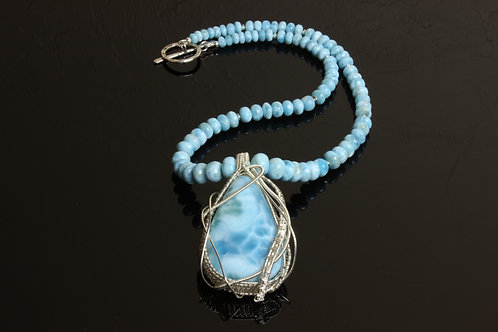 Larimar Necklace Hand Wire Wrapped in Sterling Silver