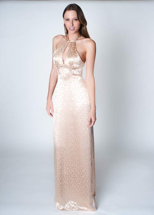 Laser Cut lt. Peach Silk Beaded Evening Gown
