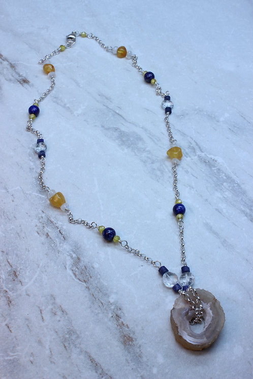 Fossilized Bamboo & Gemstones Silver Necklace