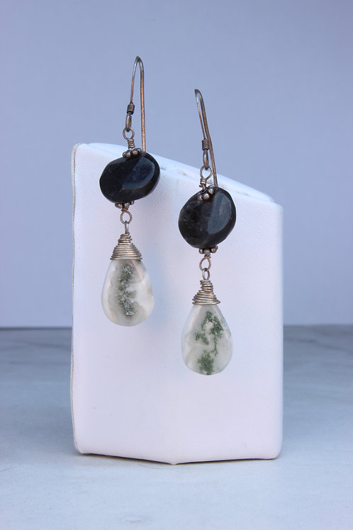 Solar Quartz, Obsidian & Silver Earrings