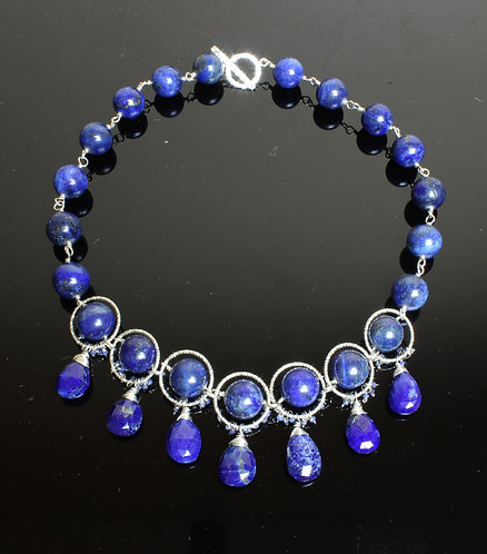 Lapis Lazuli & Sterling Silver beaded Necklace