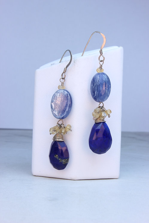 Lapis Lazuli, Kyanite & Citrine Sterling Silver Earrings