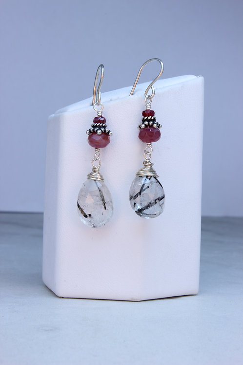 Ruby & Tourmalated Quartz Sterling Silver Earrings