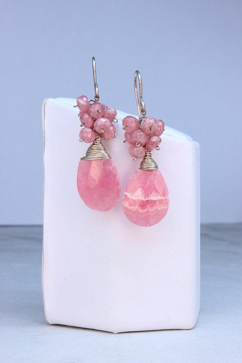 Rhodochrosite & Sterling Silver Cluster Earrings
