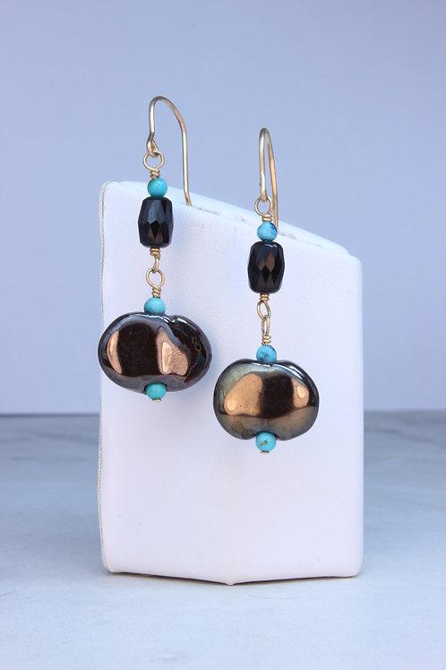 Kazuri Beads, Black Jade & Gold Fill Earrings