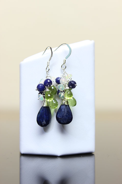 Sapphire, Peridot & Opal Sterling Silver Earrings