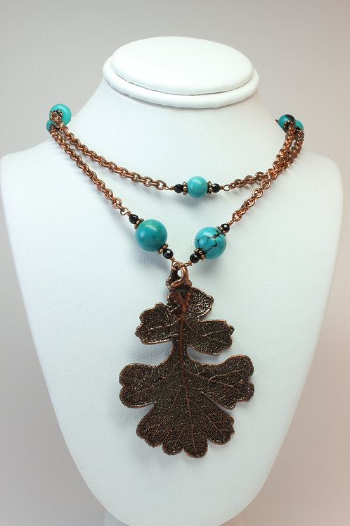 Electroplated Copper Leaf & Turquoise Necklace