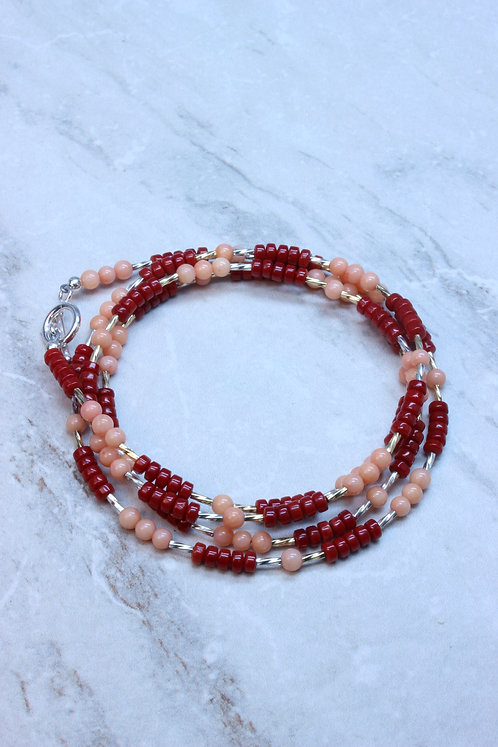 Red & Pink Coral With Sterling Silver Wrap Bracelet