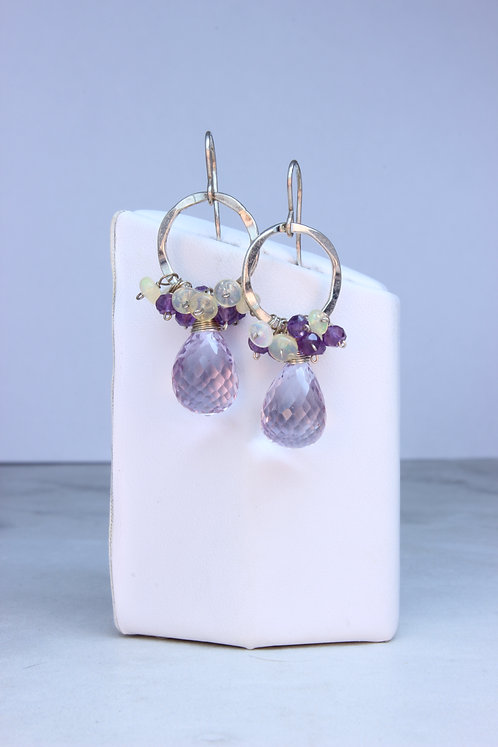Pink Amethyst, Opal & Sterling Silver Earrings