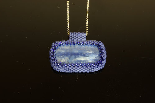 Kyanite Bead Embroidery Pendant