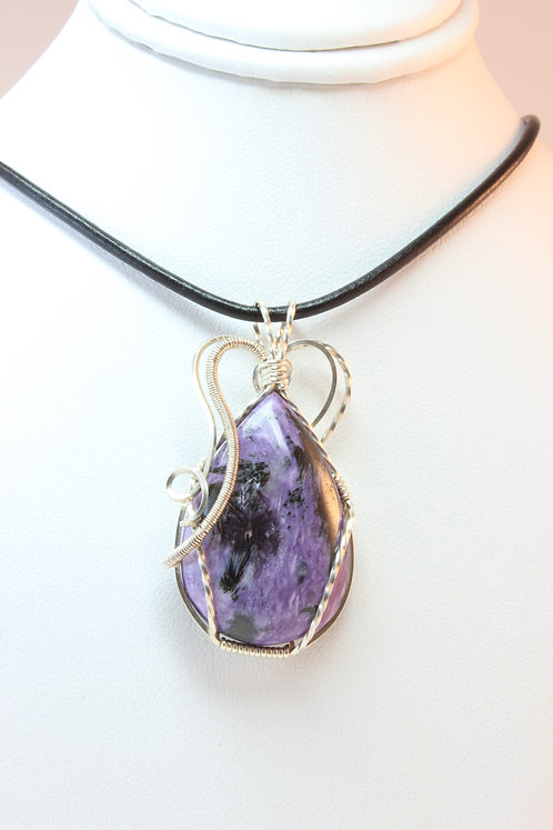 Charoite Sterling Silver Wire Wrapped Pendant