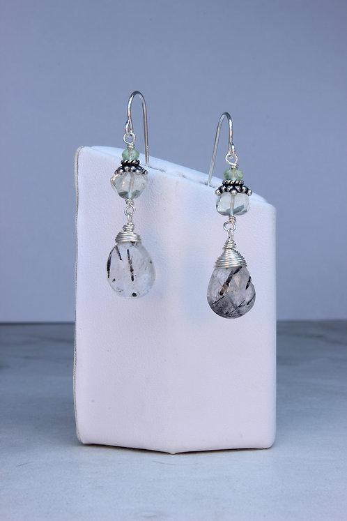 Green Amethyst, Tourmalated Quartz & Sterling Silver Earrings