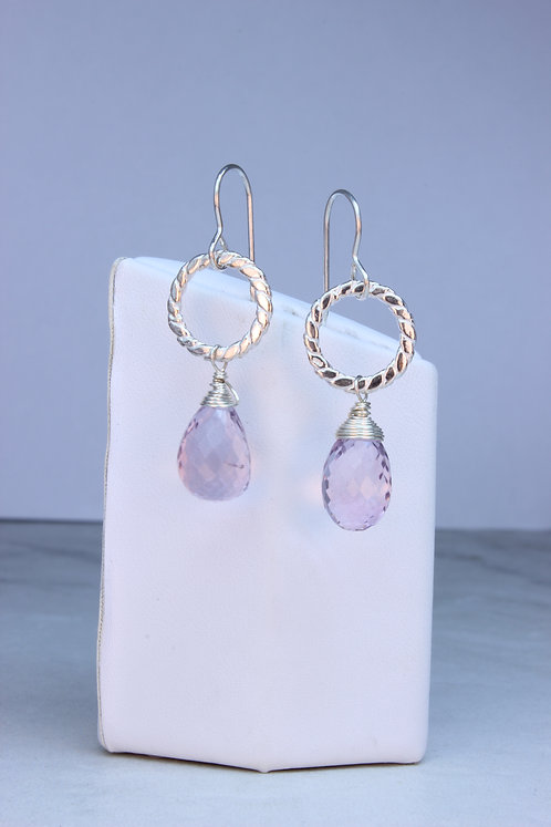 Pink Amethyst & Sterling Silver Earrings