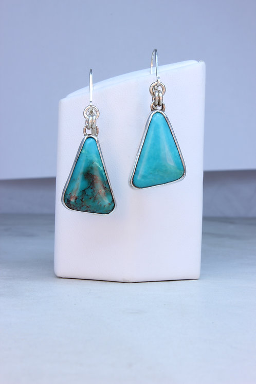 Natural American Turquoise & Silver Earrings