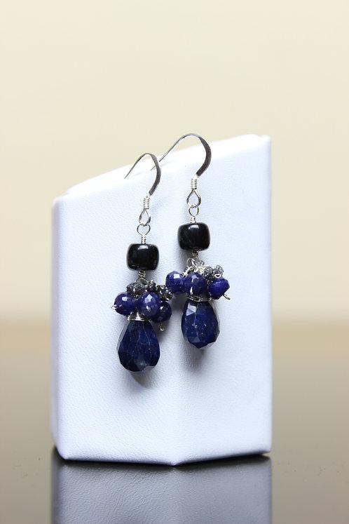 Blue Sapphire, Rough Diamonds & Black Jade Sterling Silver Earrings