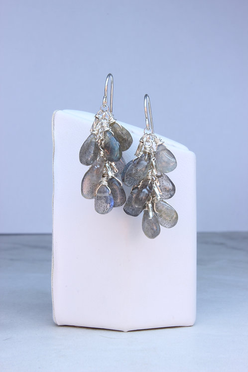 Labradorite & Sterling Silver Cluster Earrings
