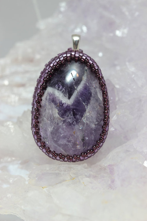 Dogtooth Amethyst Pendant with Beaded Embroidery