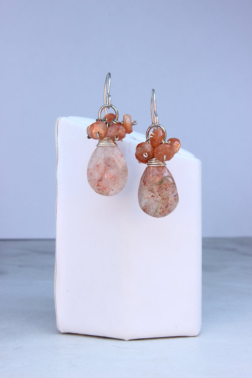Sun Stone &  Sterling Silver Cluster Earrings