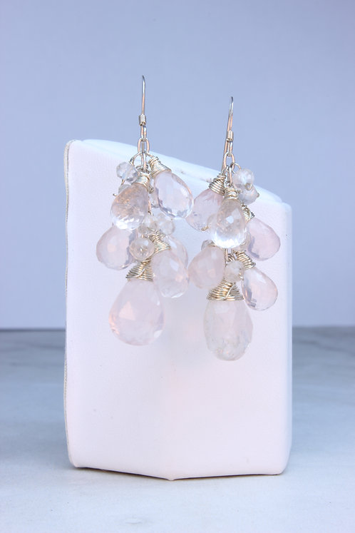 Rose Quartz & Sterling Silver Cluster Earrings