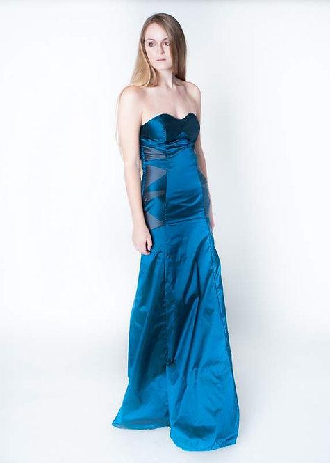 Stunning Teal Silk Taffeta Evening Gown  Size 00
