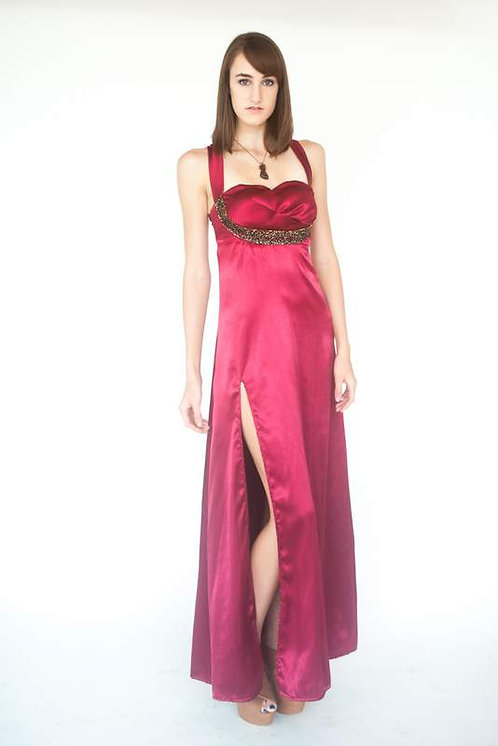 Fuchsia Beaded Gown / Prom Dress