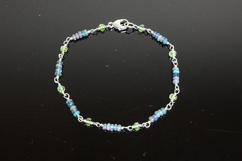 Black Opal & Peridot Sterling Silver Bracelet