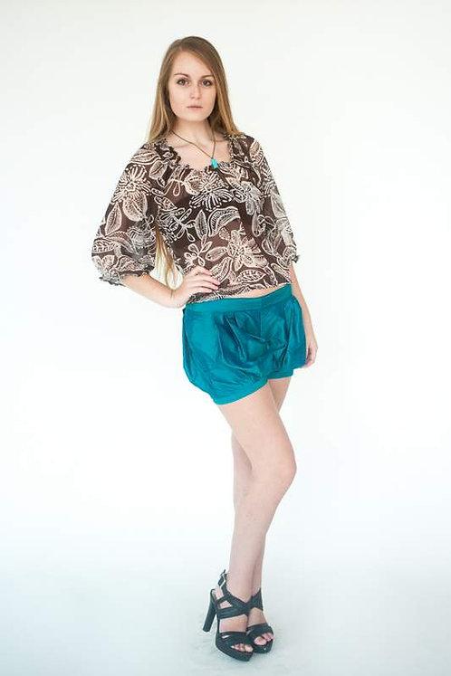 Silk Taffeta Teal Bubble Shorts  Size 0