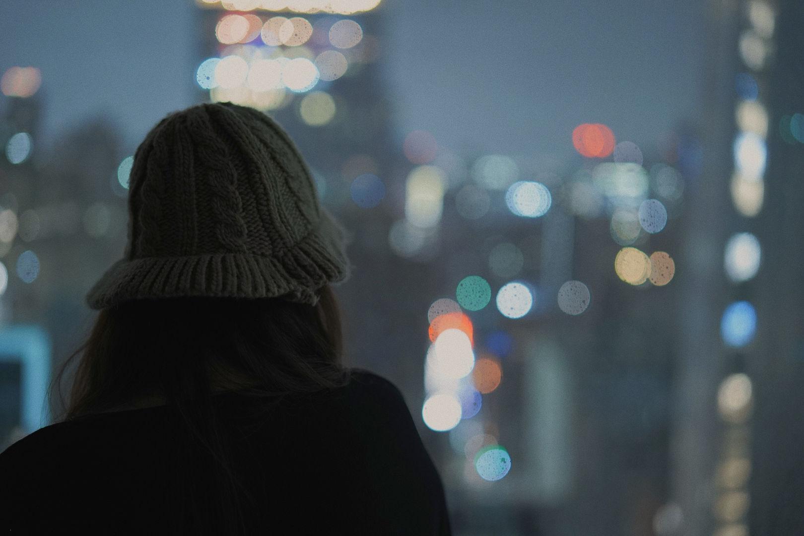 hotel window night NYC