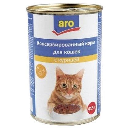Aro корм для кошек консерв. с рыбой в соусе 415г. ж/б *