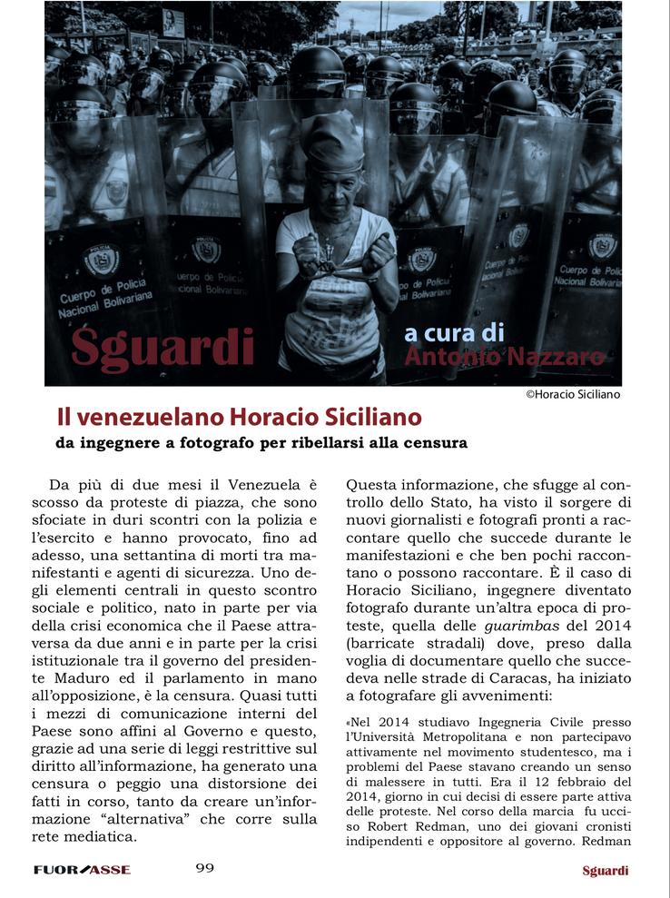 Sguardi-Il venezuelano Horacio Siciliano da ingegnere a fotografo per ribellarsi alla censura. Anton