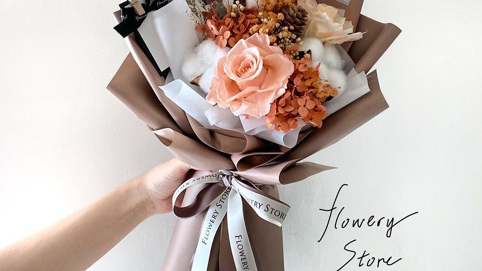 香檳玫瑰啡色花束