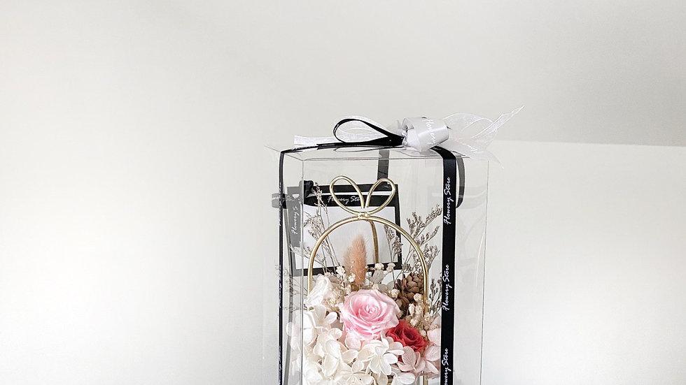 淡粉玫瑰金屬花盆