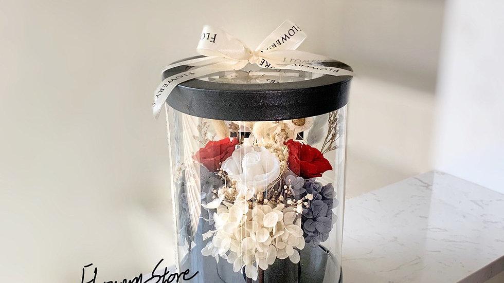 紅白玫瑰灰藍繡球黑色花桶