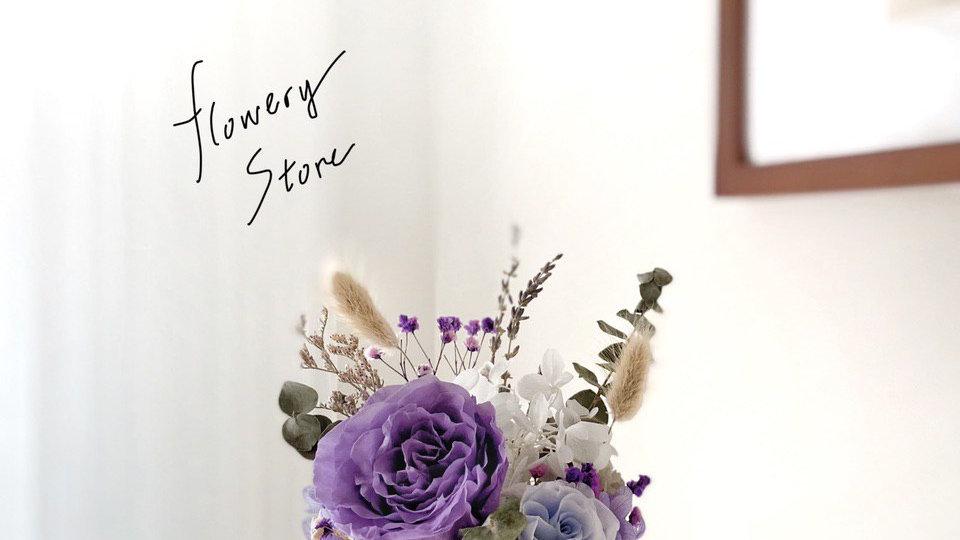 紫色玫瑰金屬花盆