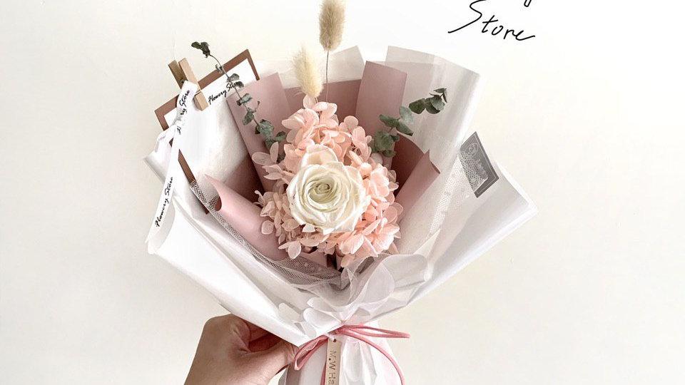韓式白玫瑰粉色花束