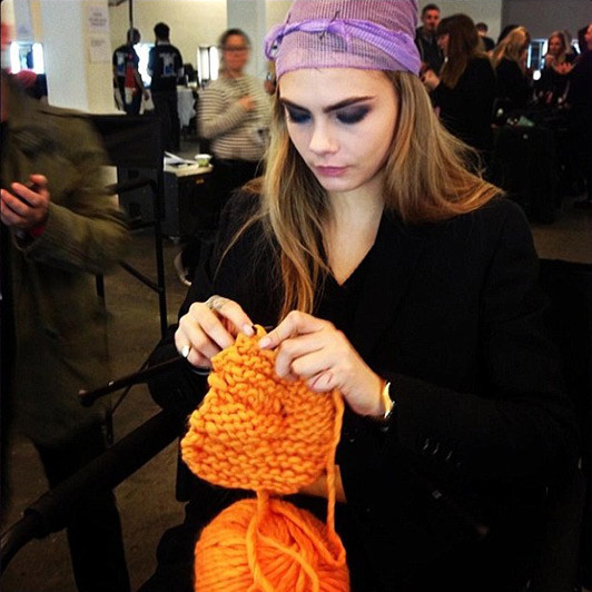 """Cara Delevingne wrote """"Knitting is the BOMB"""" underneath this photo she posted on her Instagram account during fashion week (Photo: Instagram / Source: fashion.telegraph.co.uk)"""