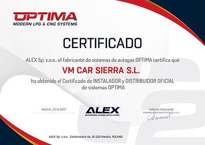 Certificado de instalador y distribuidor