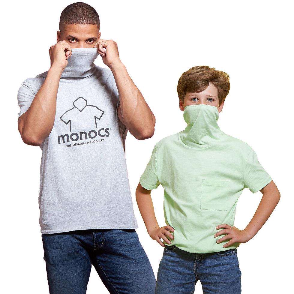 monocs® - Boys having fun with mask shirts.