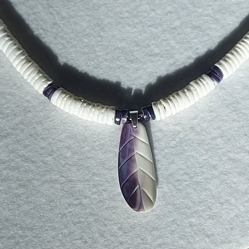 """Wampum feather necklace 20"""""""