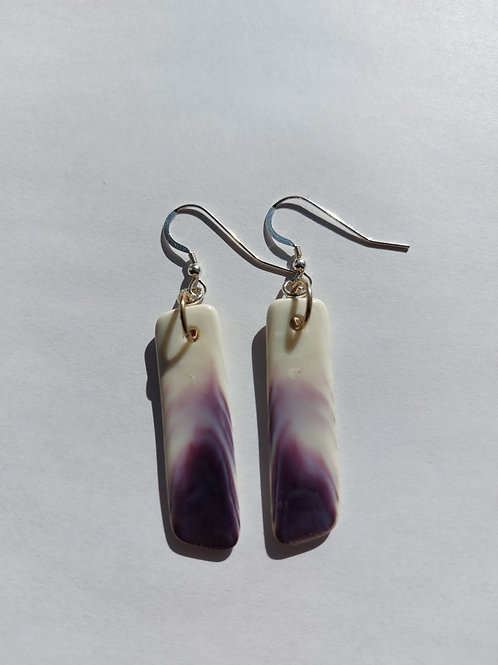 Long wampum slab earring