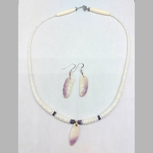 Feather necklace and earrings set