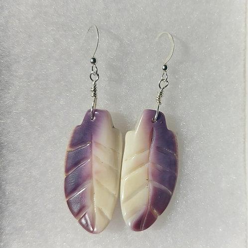 Wampum feather earrings