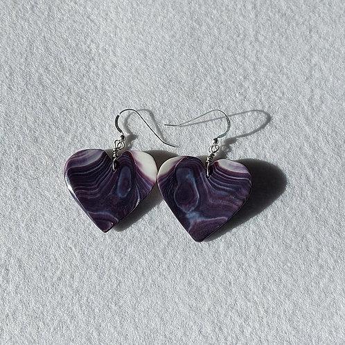 Medium wampum heart earrings
